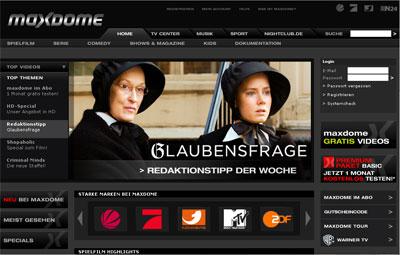 Grafik: Homepage maxdome